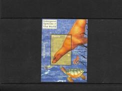O) 2001 LIBERIA, CALIFORNIA SEA LION-MAMMALS, WEEDY SEA DRAGON, LOGGER HEAD TURTLE, ENDANGERED SPECIES OF THE WORLD, MNH - Liberia