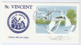 1997 V Ltd Edition SIGNED FDC St Vincent EGRET Miniature Sheet By HOWIE WATKINS Birds Heron Bird Stamps  Tv Broadcasting - St.Vincent (1979-...)