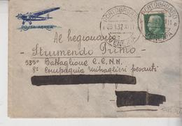 Regno 28/1/1937 Busta Posta Aerea Portogruaro Venezia  Targhetta Lotteria Tripoli  Gg - 1900-44 Vittorio Emanuele III