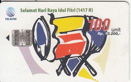 INDONESIA(chip) - Selamat Hari Raya Idul Fitri 1, Telkom Telecard 100 Units, Tirage 60000, 03/97, Used - Indonesien