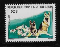 BENIN, 1981  SCOTT #512, DOGS  Mint With Very Light Hing Mark - Bénin – Dahomey (1960-...)