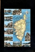 La CORSE : Carte Routière De L'Ile Département & Vues Calvi Bastia Sartène Bonifacio Porto Vecchio Ajaccio Corté - Non Classés