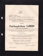 OSTENDE OOSTENDE Paul CARBON époux Marie HAMMAN 78 Ans 1939 Doodsbrief - Obituary Notices