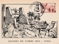 Tunis - Journée Du Timbre 1955 - Carte Maximum - Tunisia (1888-1955)