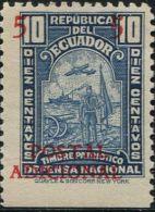 JA0166 Ecuador 1937 Defense Posters Surcharged Overprint 1v MNH - Ecuador