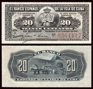 España Spain Colonial 20 Centavos 1897 Pick 53 SC UNC - Cuba