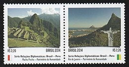 BRAZIL 2014 RELATIONSHIP PERU MACHU PICCHU AND RIO DE JANEIRO ARCHAEOLOGY - Unused Stamps