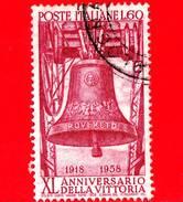 ITALIA - 1958 - Usato - 40º Anniversario Della Vittoria Nella Prima Guerra Mondiale - 60 L. • Campana Dei Caduti, A - 6. 1946-.. Republic