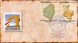 Lote HF63abF, Colombia, 2005, SPD-FDC, Centenario Del Departamento Del Atlantico, Map - Colombia