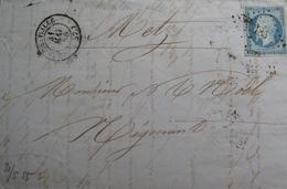 LOT GD/468 - NAP III N°14Am Laiteux Sur Verdâtre (LETTRE) PC 2185 MOULINLILLE (Nord) IND 5 - Cote : 250 € - 1853-1860 Napoleon III
