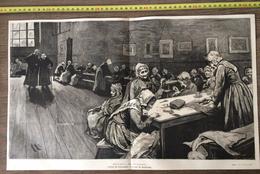ENV 1890 GRAVURE L ASILE DE VIEILLARDS TABLEAU DE HERKOMER - Vieux Papiers