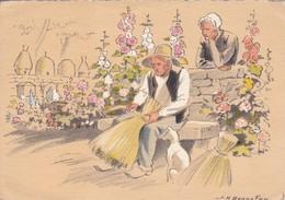 Cartes Postales > Thèmes > Illustrateurs - Signés  J H Bonnefoy Croquis Régionaux Le Vieil Apiculteur Abeille Miel - Autres Illustrateurs