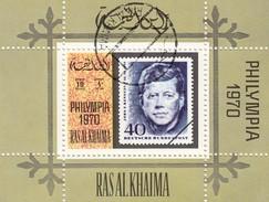 RAS AL-KAIMA  - BLOC PHILYMPIA 1970 - KENNEDY  / 3 - Ra's Al-Chaima