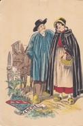 Cartes Postales > Thèmes > Illustrateurs - Signés  Naudy  FLOKLORE COSTUME REGIONAL Blason Marche Drome - Naudy
