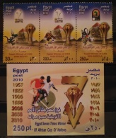 E24 - Egypt 2010 MNH Complete Set 3v. + Block S/S - Egypt 7 Times Winner Of African Football Cup Of Nations - Ongebruikt