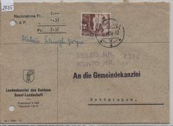 1954 Alpenpoststrasse 304/536 Nachnahme Von Liestal Nach Bottmingen 31.VII.54 - Brieven En Documenten