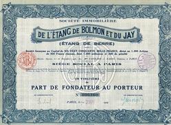 Action Ancienne - Société Immobilière De L' Etang De Bolmon Et Du Jay (Etang De Berre) - Titre De 1929 - Eau