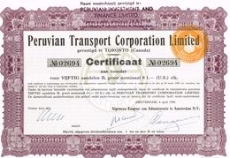 Action Ancienne - Peruvian Transport Corporation Limited - Titre De 1956 - Transports