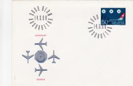 No 455 Sur FDC Genève Aéroport, Oblitéré Le 14.3.68 - Poste Aérienne