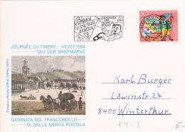 Journée Du Timbre Vevey 1984  : No J 291 Obl. Bellinzona Le 26.11.84 - Flamme Biasca Giornata Del Franco Bollo 2.12.84 - Schweiz