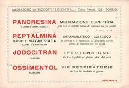 "06817 ""PANCRESINA - PEPTALMINA - JODOCITRAN - OSSIMENTOL - LAB. SCIENTIA TORINO "" CARTA ASSORB. ORIGINALE - Ohne Zuordnung"