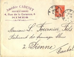DAGUIN CACHETS JUMELÉS SIMPLE CERCLE NIMES GARD Du 6-4-11 - En-tête Amédée CADENET - Marcophilie (Lettres)