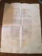 Affiche Basseneville 1889 Discours De M. Carnot Président De La République Banquet Offert à Paris Aux Maires De France - Documents Historiques