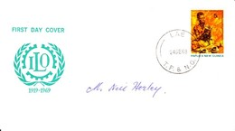50th Anniversary Of ILO Papau New Guinea FDC 24/09/1969 - Papua Nuova Guinea