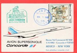 Concorde - Dernier Vol Commercial AF 002 Mexico -New York - 1982 Sur Carte - Concorde