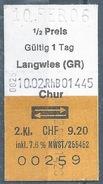 """Bahnbillet  """"Rhätische Bahn""""  Langwies - Chur          2006 - Europa"""