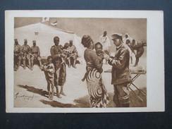 AK Künstlerkarte Kolonial - Krieger - Spende. Jung Afrika Wird Geimpft. Die Wehrmacht In Afrika. Ungebraucht - Ehemalige Dt. Kolonien