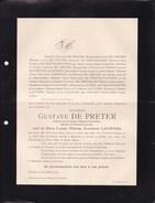 PUTTE BERCHEM Gustave DE PRETER Veuf LAUWERS 1852-1912 Conseiller Communal Doodsbrief - Obituary Notices