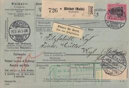 DR Paketkarte EF Minr.93I Höchst 25.2.14 Gel. In Schweiz Perfins MLB - Briefe U. Dokumente