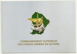 CARTE DE VISITE COMMANDEMENT SUPERIEUR DES FORCES ARMEES ESCALE TRANSITS AERIEN CAIMAN ARGENT EPEE ANCRE MILITARIA - Militaria