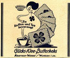 Original-Werbung/ Anzeige 1925 - GLÜCKS-KLEE BUTTERKEKS / KRIETSCH - WERKE WURZEN - Ca. 140 X 110 Mm - Werbung