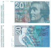 """Banknote  20 CHF  """"Horace Bénédict De Saussure""""        1982 - Suisse"""