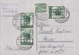 DR Karte Mef Minr.3x 662 Lauterberg 28.4.38 Gel. Nach Italien Nachgebühr - Briefe U. Dokumente