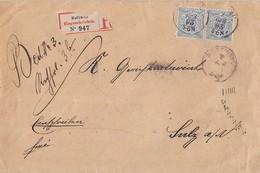 Württemberg R-Brief Mef Minr.2x 47a Rottweil 7.4.93 Geprüft Gel. Nach Sulz - Wuerttemberg