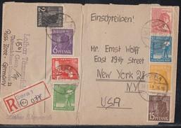 Gemeina. R-Brief Mif Minr.943-946,948,950,952,953 Gera 19.6.48 Gel. In USA - Gemeinschaftsausgaben