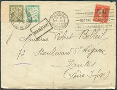 10c. SEMEUSE F.M. Obl. Mécanique De VERSAILLES 22-III-1928 Sur Devant Vers NANTES Et Taxée 80 Centimes Par T-TX +griffe - Franchise Militaire (timbres)