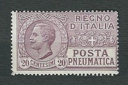 ITALIA 1925 - Posta Pneumatica - Vittorio Emanuele III - 20 C. Violetto Bruno - MH - Sa:PN 8 - Posta Pneumatica
