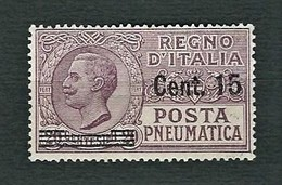 ITALIA 1927 - Posta Pneumatica - Vittorio Emanuele III - 15 C. Su 20 C. Violetto Bruno - MH - Sa:PN 10 - Posta Pneumatica