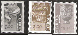Armenia 1993 Archeologic Finds, Inscription, Statue Of The Goddess Waroubini, Silver Chalic,   Mi  207-209 MNH(**) - Armenia