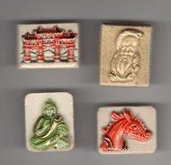 Série 4 Fèves Biscuit Verni TRESORS DE CHINE - PRIME 1992 Bouddha, Mandarin, Cité Interdite, Dragon - Countries