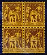 France N° 99 Bloc De 4 Nf ** (1 Ex.*) Centrage Quasi Parfait - Signé - Estima 2750 Euros - Superbe Qualité - 1876-1898 Sage (Type II)