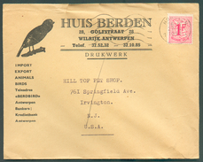 BELGIUM BIRD Env. Illustrated HUIS BERDEN  Franked 1F LION  Cancelled HOBOKEN To USA- 11978 - Passereaux