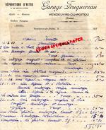 86- VENDEUVRE DU POITOU- FACTURE GARAGE FOUQUEREAU- REPARATIONS AUTOS BICYCLETTES- 1933 - Cars