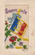 Carte Brodée Militaire Souvenir 32e De Ligne 1914/1917 - Brodées