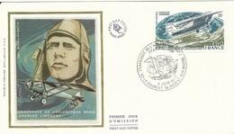 Enveloppe Sur Soie FDC-cachet Premier Jour- Timbre N° Poste Aérienne  50 Travrsée De L'Atlantique Nord - Charles LINBERG - 1970-1979