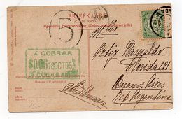 NEDERLAND NIEDERLANDE HOLANDA 1905 POSTCARD TO ARGENTINA TAXED - Periode 1891-1948 (Wilhelmina)